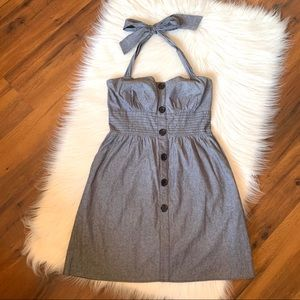 Maurices Grey Button Front Halter Summer Dress 7/8